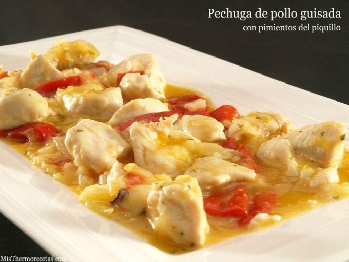 esta receta para cenar? . Es pechuga de pollo troceada con una salsa ...