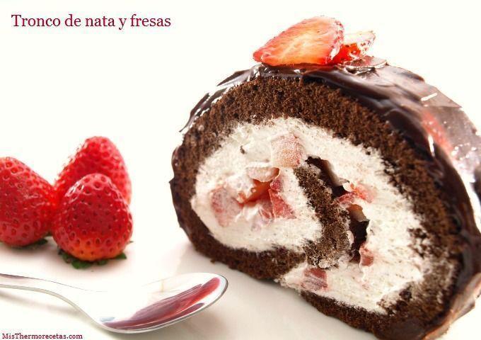 Tronco de nata y fresas - MisThermorecetas