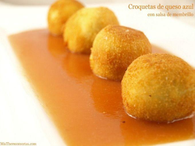 Croquetas de queso azul con salsa de membrillo - MisThermorecetas