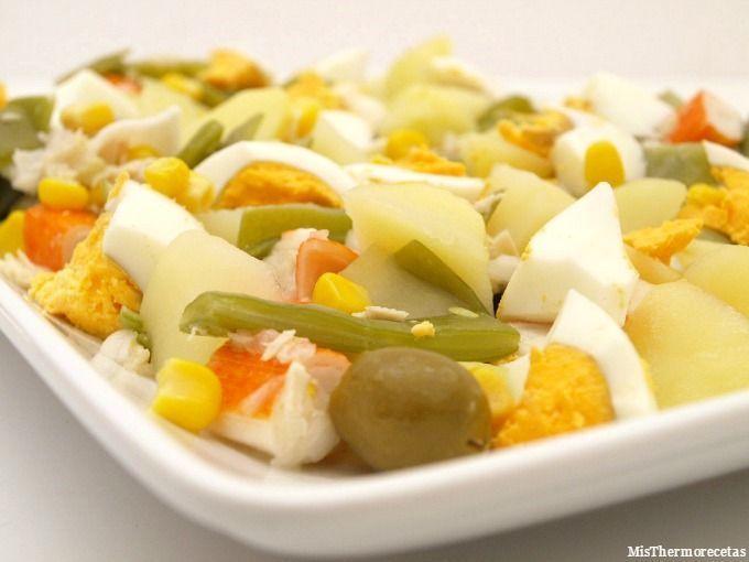 Ensalada templada de jud as verdes con patatas ma z y - Como hacer judias verdes ...