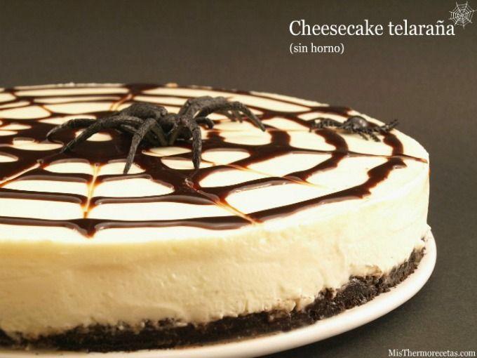 """Halloween: Cheesecake """"tela de araña"""" (sin horno)"""