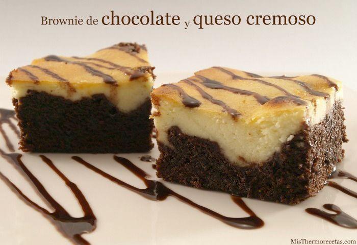 Brownie de chocolate y queso cremoso
