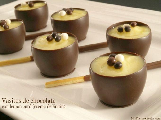 Vasitos de chocolate con lemon curd (crema de limón)