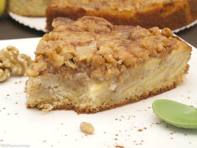 Pastel de manzana con crujiente de nuez - MisThermorecetas