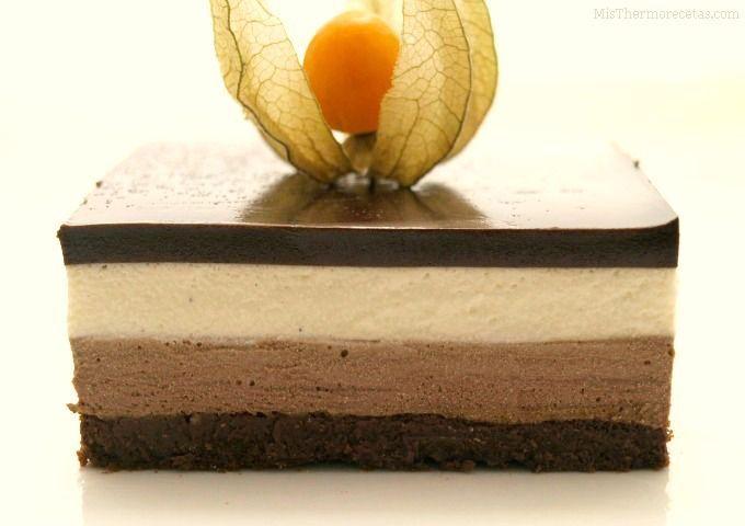Tarta de mousse de chocolate y crema de vainilla