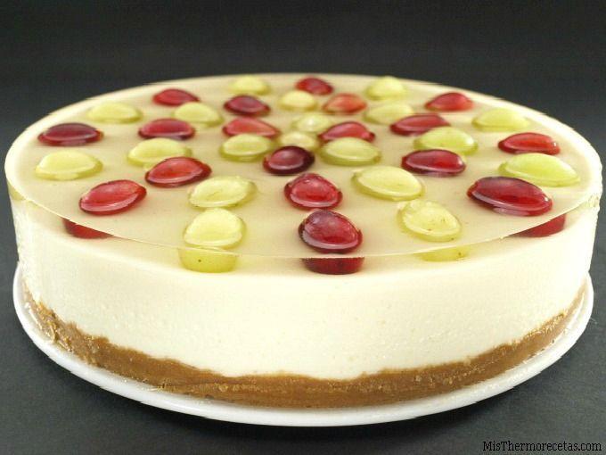 Tarta de queso y uvas al moscatel - MisThermorecetas
