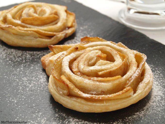 Rosas de hojaldre y manzana - MisThermorecetas