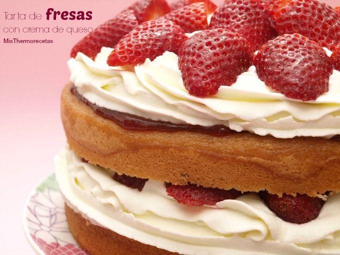 Tarta de fresas con crema de queso