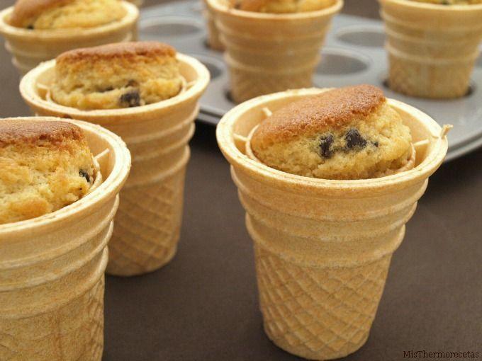 Cupcakes de vainilla con frosting de Nutella, en forma de helado