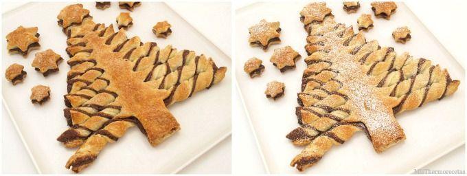 Arbol de hojaldre y Nutella, para Navidad