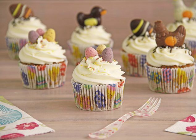Cupcakes de zanahoria, decorados para Pascua