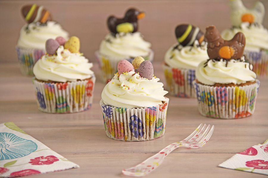 Cupcakes de zanahoria, decorados para Pascua, con Thermomix