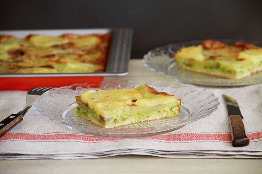 Coca de pimientos verdes y patatas, con Thermomix