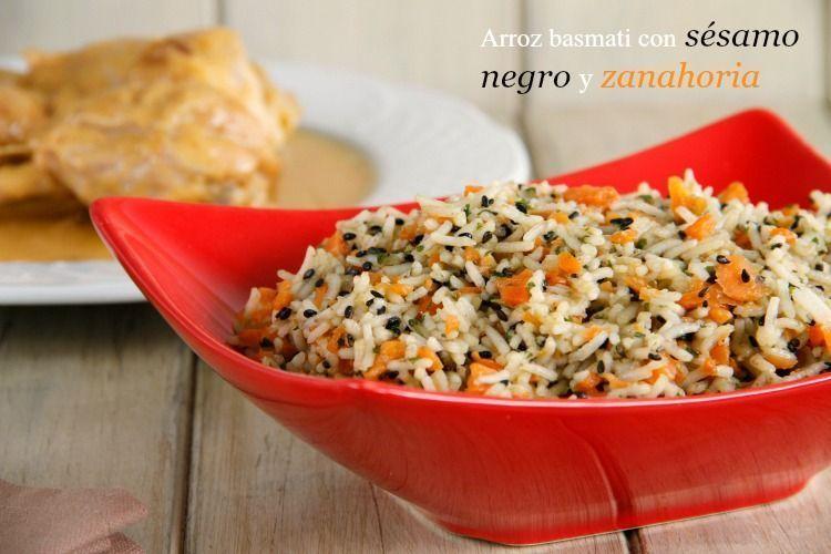 Arroz basmati con sésamo negro y zanahoria