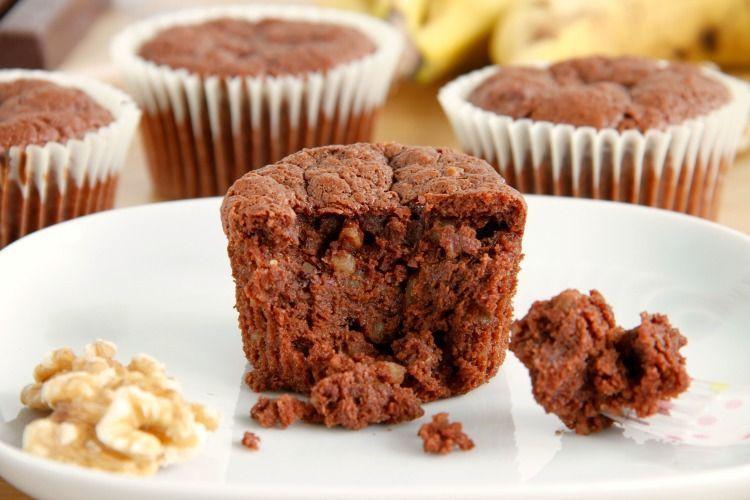Brownie muffins de nueces y plátano - MisThermorecetas