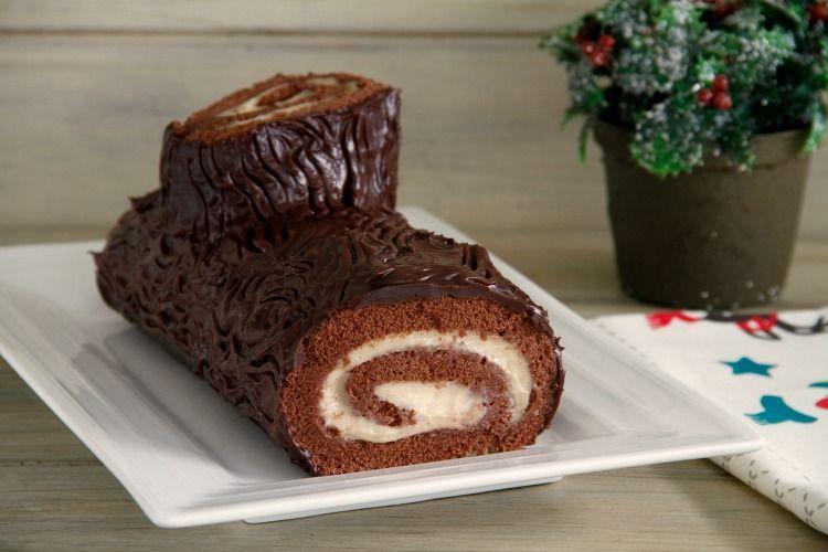 Tronco de chocolate y crema de turrón