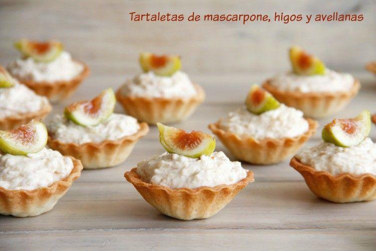 Tartaletas de mascarpone, higos y avellanas