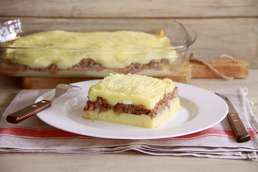 Pastel de patata, carne y champiñones, con Thermomix