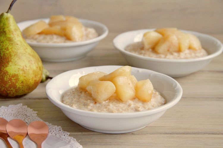 Porridge con compota de pera, con Thermomix