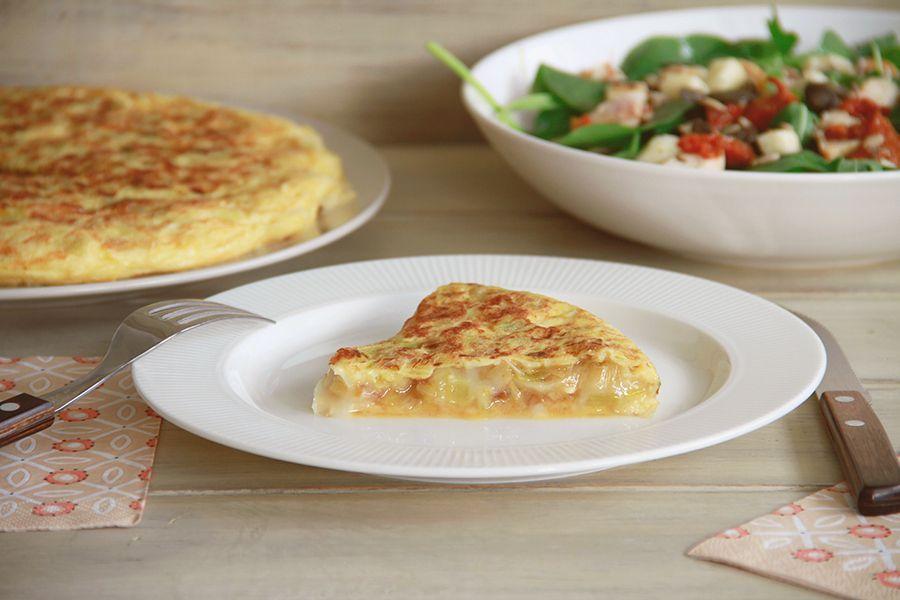 Tortilla de puerros y queso de cabra, sin Thermomix