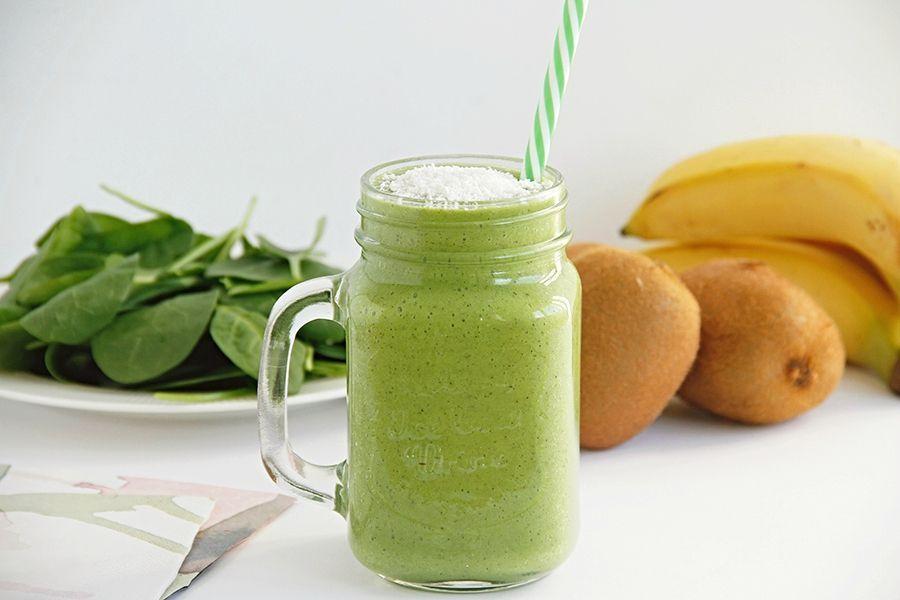 Smoothie de espinacas, plátano y kiwi, con y sin Thermomix