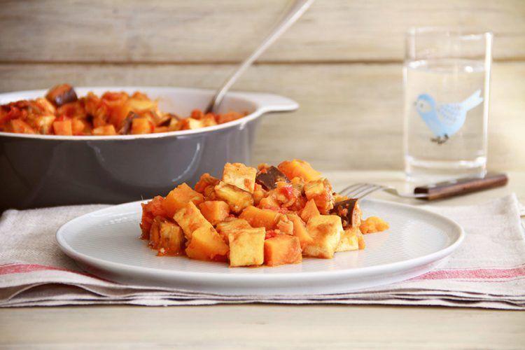 Estofado vegetariano de verduras y tofu, con Thermomix