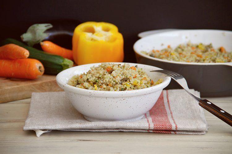 Quinoa con verduras al vapor, con Thermomix