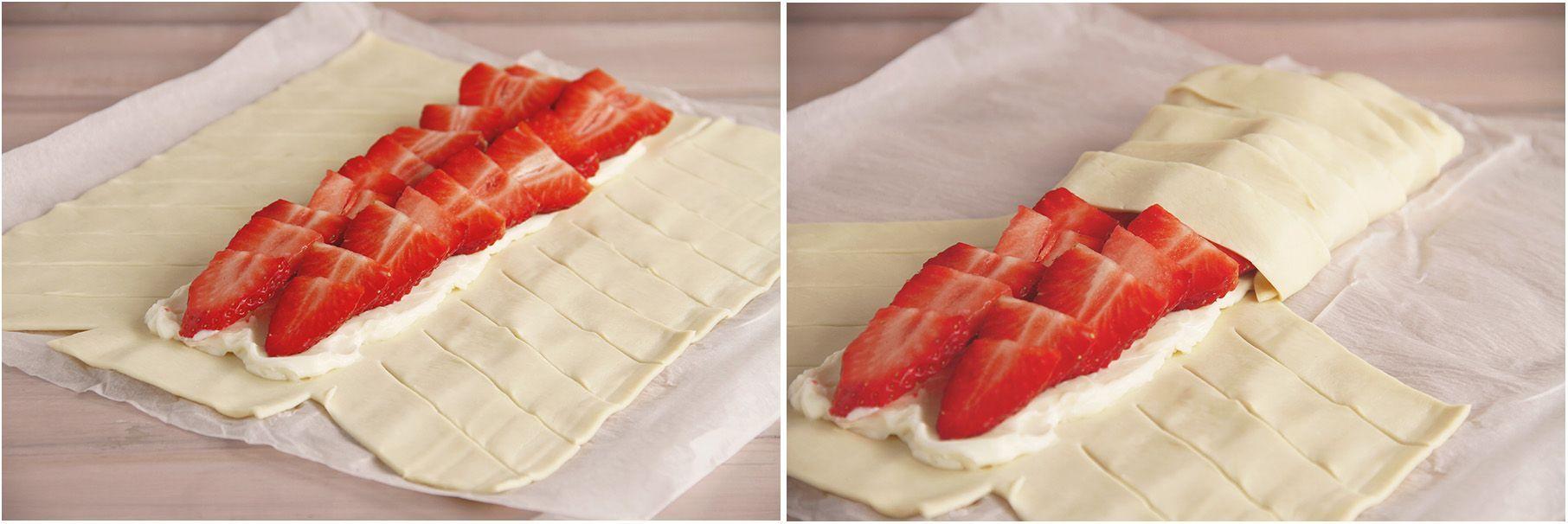 Trenza de fresas y queso cremoso
