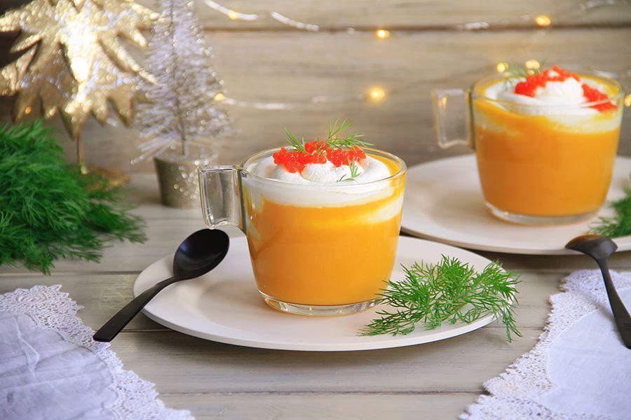 Capuccino de batata y zanahoria a la naranja