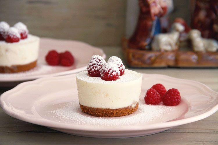 Minicheesecakes con frambuesas